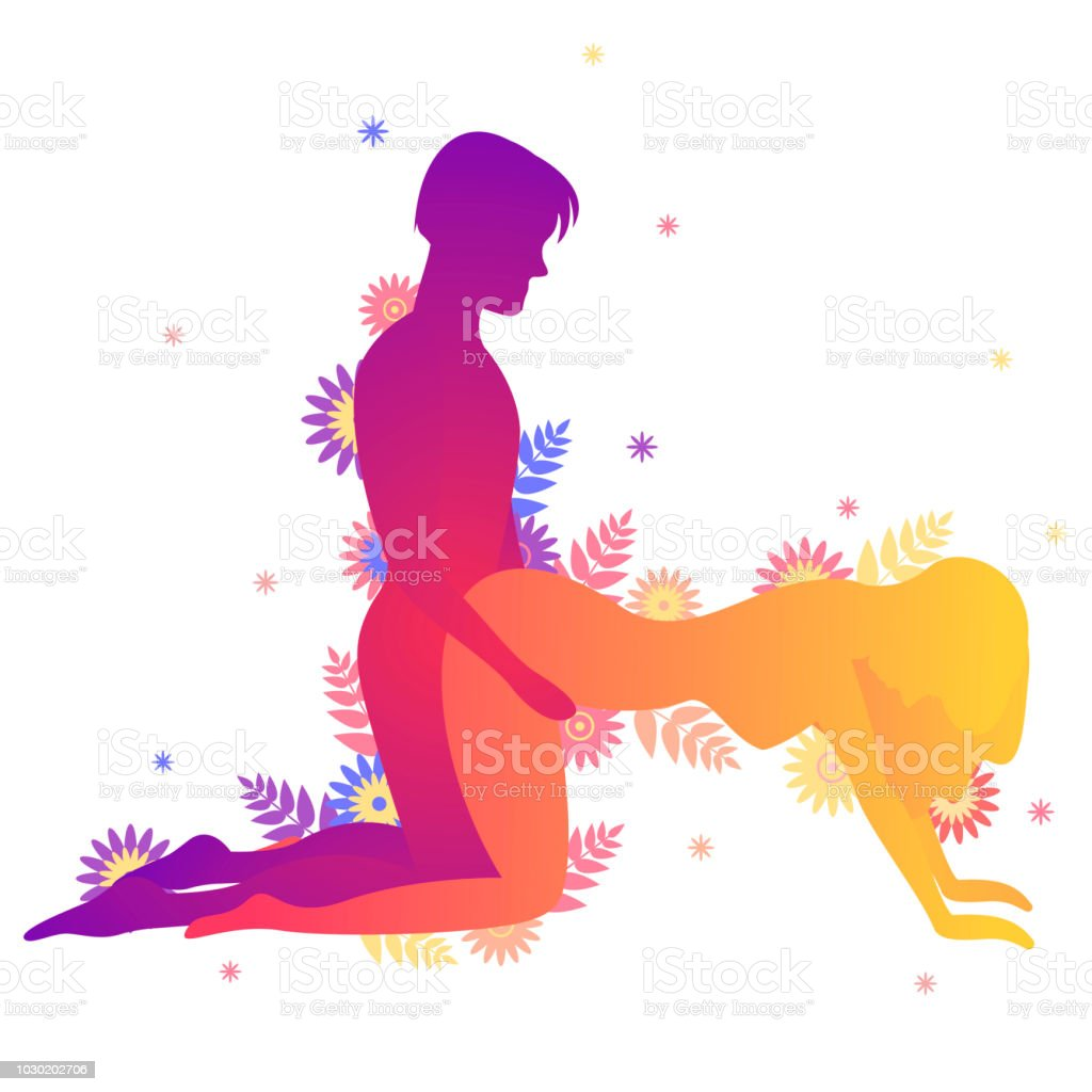 Kama Sutra Sexual Pose Doggy Style On White Background Illustration