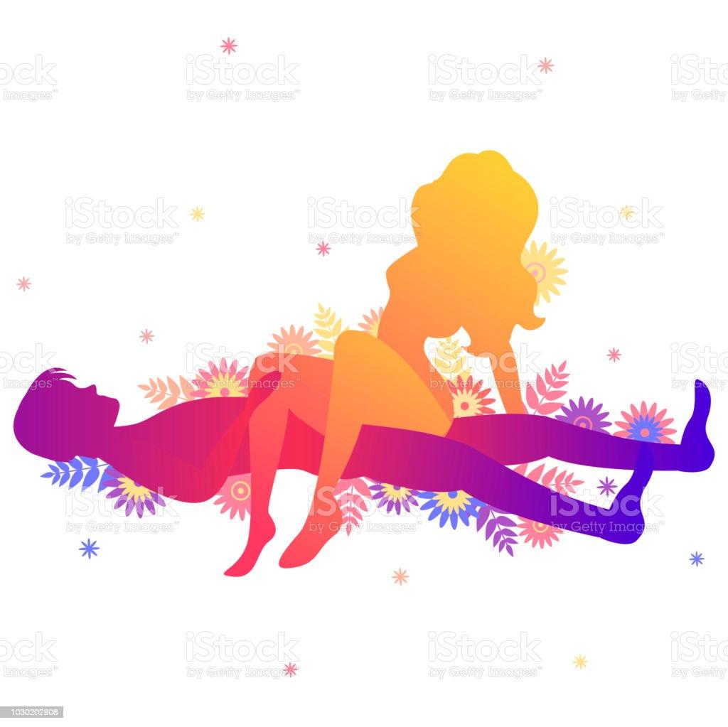 Kamasutra sexual plantean la silla de montar de lado. ilustración de kamasutra  sexual plantean la