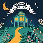 Kampung hari raya aidilffitri - eidulfitri eid mubarak lemang ketupat selamat hari raya pelita bulan ramadhan syawal