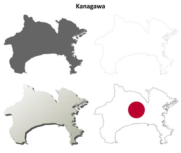 가나가 현 빈 개요 지도 세트 - 가나가와 stock illustrations