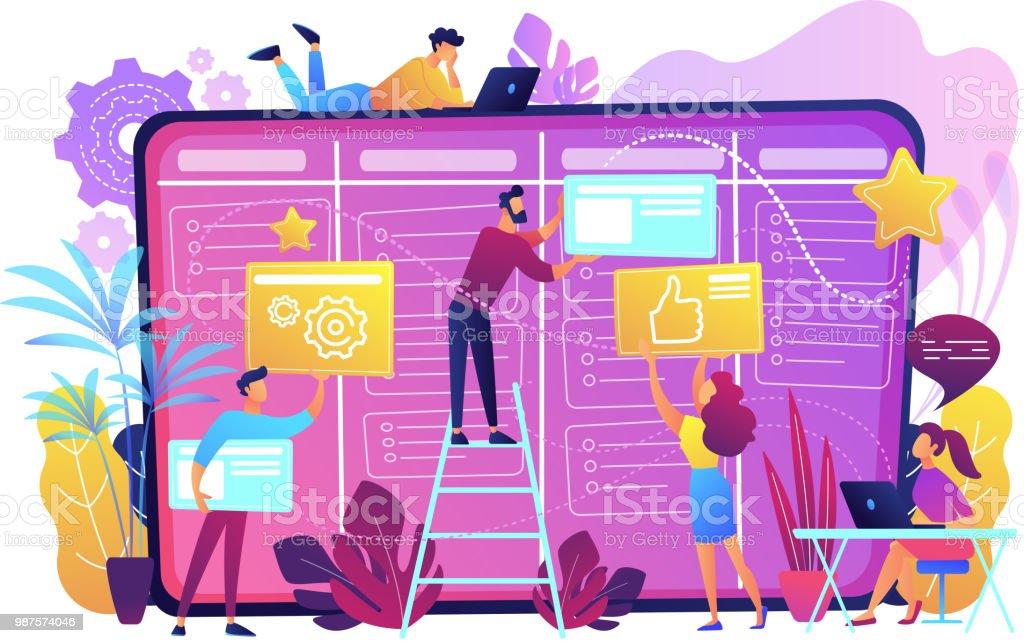 Kanban board concept vector illustration Team members moving cards on large kanban board. Teamwork, communication, interaction, business process, agile project management concept, violet palette. Vector illustration on white background. Adult stock vector