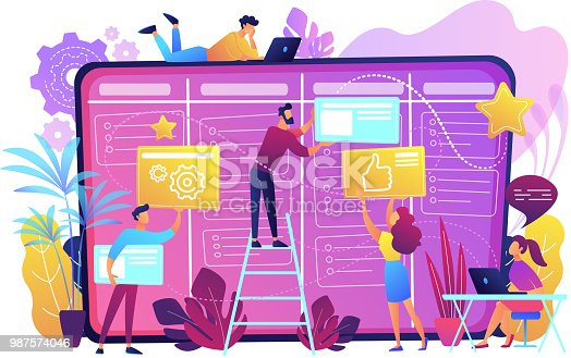 Team members moving cards on large kanban board. Teamwork, communication, interaction, business process, agile project management concept, violet palette. Vector illustration on white background.