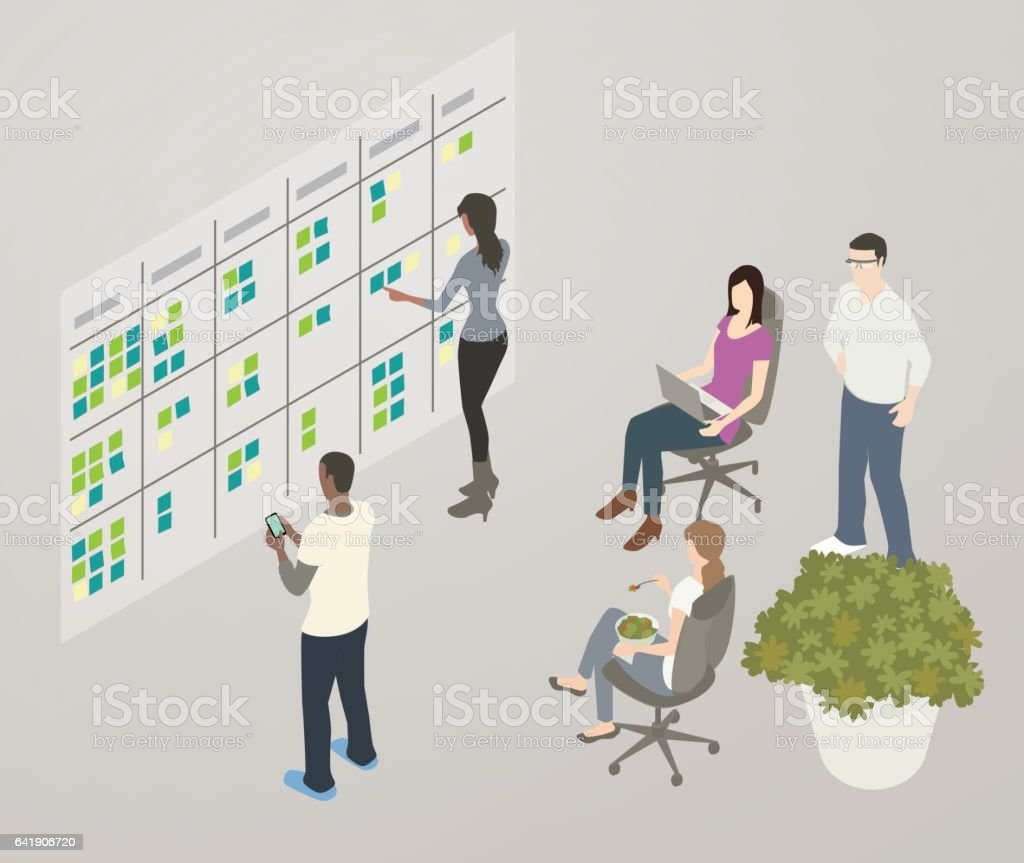 Kanban board illustration Illustration of a team collaborating while looking at a Kanban or workflow board on the wall. Adhesive Note stock vector