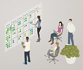 Illustration of a team collaborating while looking at a Kanban or workflow board on the wall.