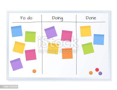 istock Kanban board with blank sticky note papers for writing task. Agile project management, tasks planning and to do list. 1286100339