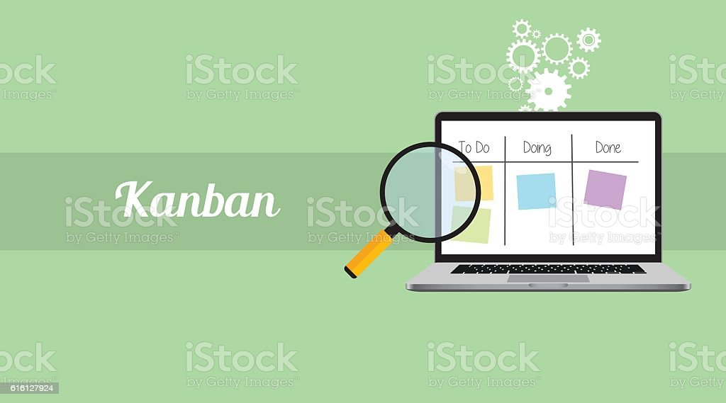kanban workflow project management with laptop and magnifying glass  stick vector art illustration