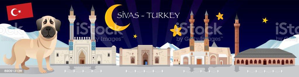 Kangal and Sivas Travel vector art illustration