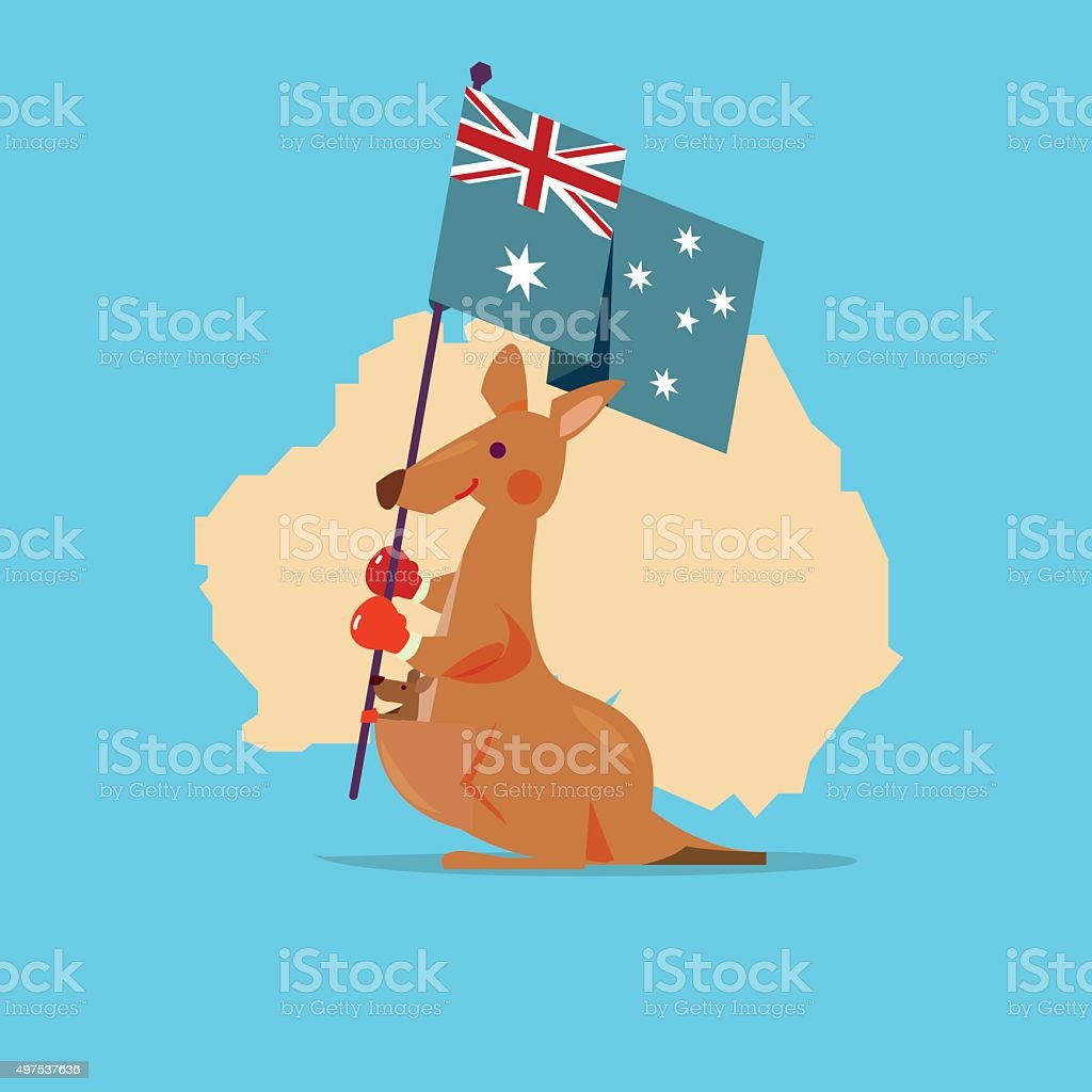 Kangaroo and baby handle Australia flag with map in background. vector art illustration