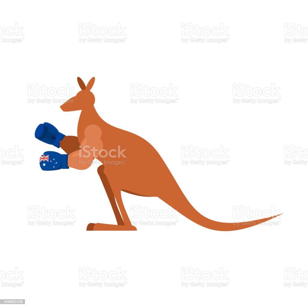 Kangaroo and boxing gloves. Australia boxer. Australian wallaby vector art illustration