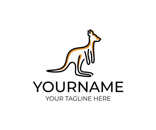 kangaroo animal linear, design. wildlife, nature, wild, vector design and illustration - kangaroo stock illustrations