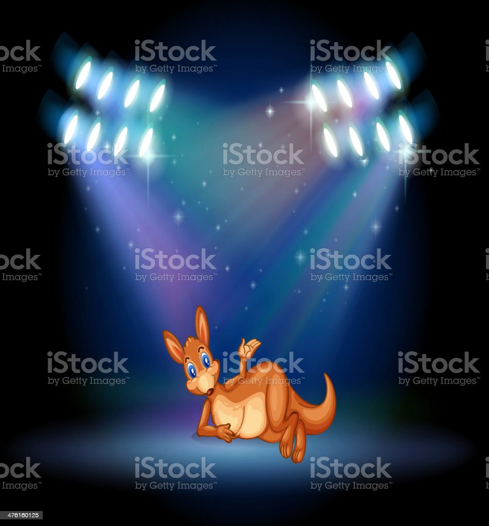 Kangaroo at the stage with spotlights royalty-free kangaroo at the stage with spotlights stock vector art & more images of animal