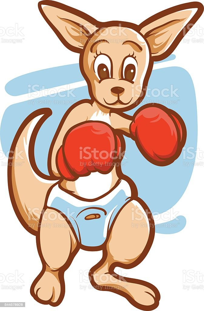 Kangaroo boxing vector art illustration