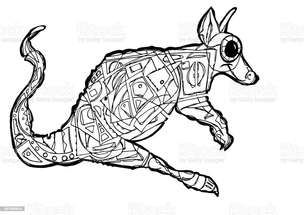 Kanguru Boyama Sayfasi Stok Vektor Sanati Bilgisayar Grafigi Nin