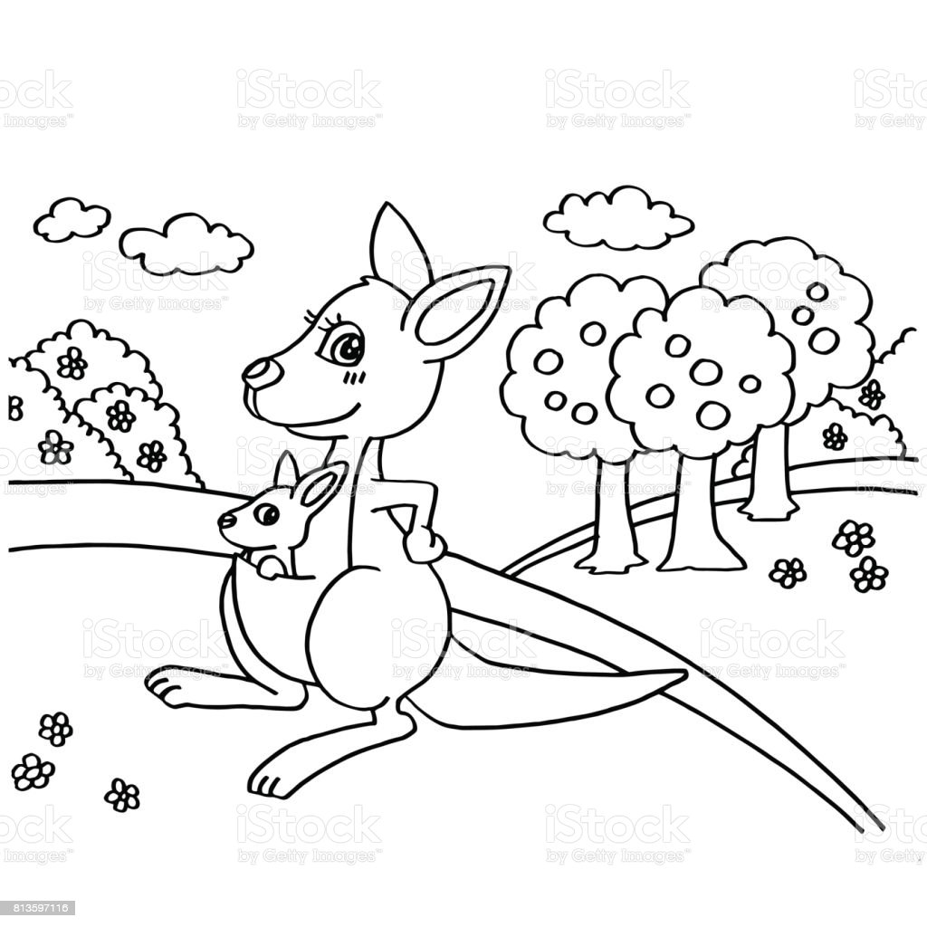 Kangaroo Coloring Pages Vector Stock Vector Art More Images Of