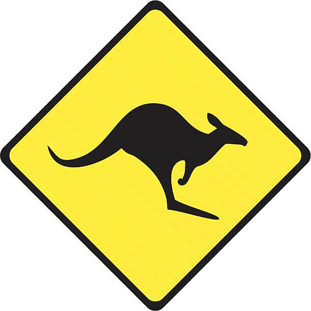 Kangaroo Crossing Sign Kangaroo crossing sign on a stripped fluorescent placard. kangaroo stock illustrations