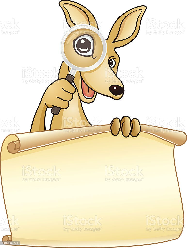 Kangaroo Holding A Paper Sign royalty-free stock vector art