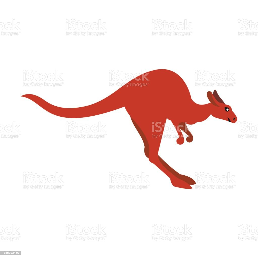 Kangaroo icon, flat style vector art illustration
