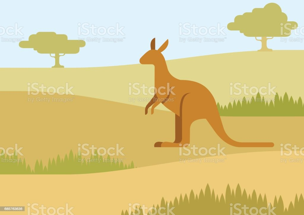 Kangaroo in the natural habitat background flat design cartoon vector wild animals. Flat zoo nature children collection. kangaroo in the natural habitat background flat design cartoon vector wild animals flat zoo nature children collection - stockowe grafiki wektorowe i więcej obrazów belize royalty-free