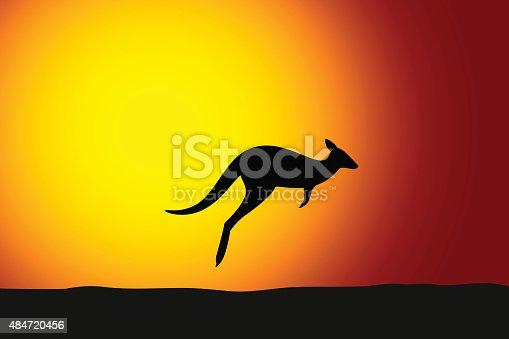 Kangaroo jumping front the sun