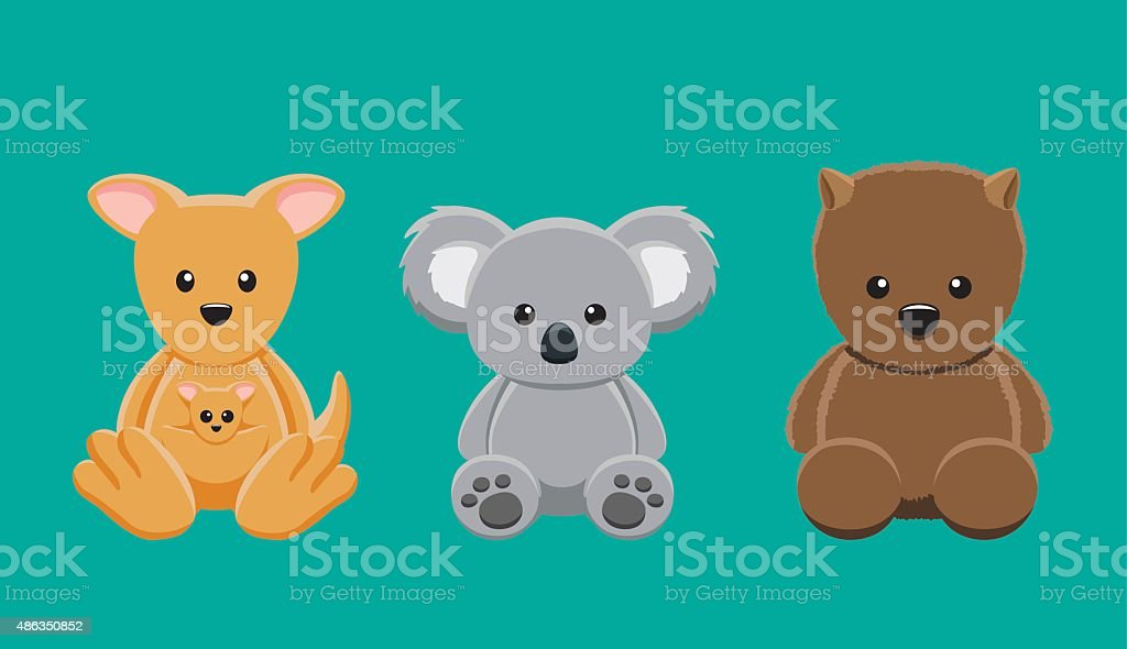 Kangaroo Koala Wombat Doll Set Cartoon Vector Illustration vector art illustration