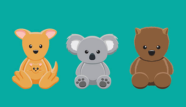 kangaroo koala wombat doll set cartoon vector illustration - koala stock illustrations