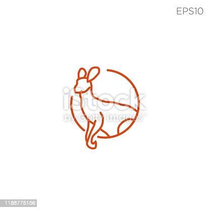 kangaroo line symbol icon illustration vector isolated