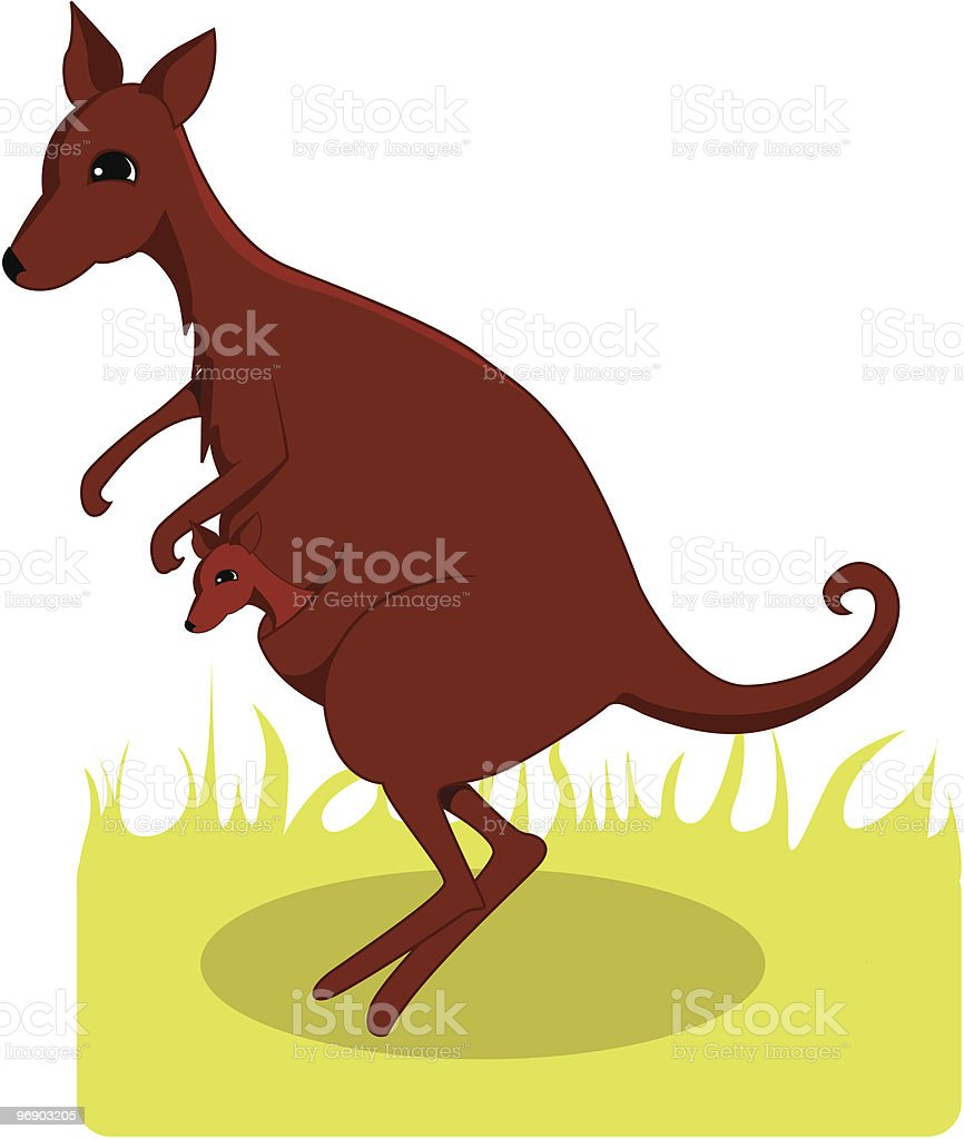 kangaroo mother and her young royalty-free kangaroo mother and her young stock vector art & more images of animal