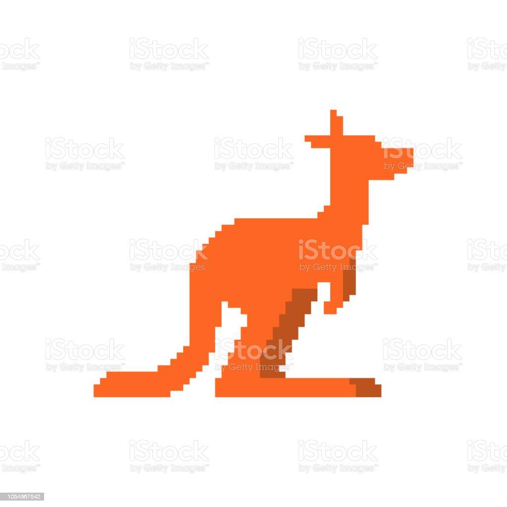 Kangaroo pixel art. wallaby 8 bit. Australian animal vector art illustration