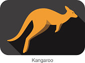 Kangaroo side flat 3D icon design