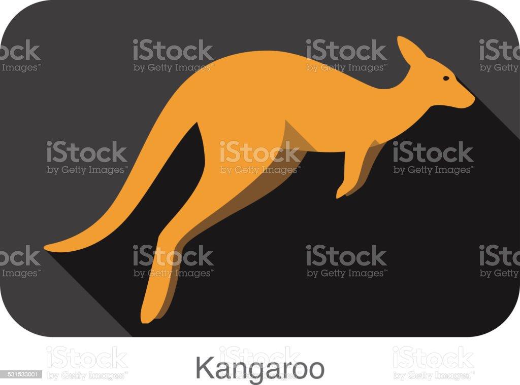 Kangaroo side flat 3D icon design vector art illustration