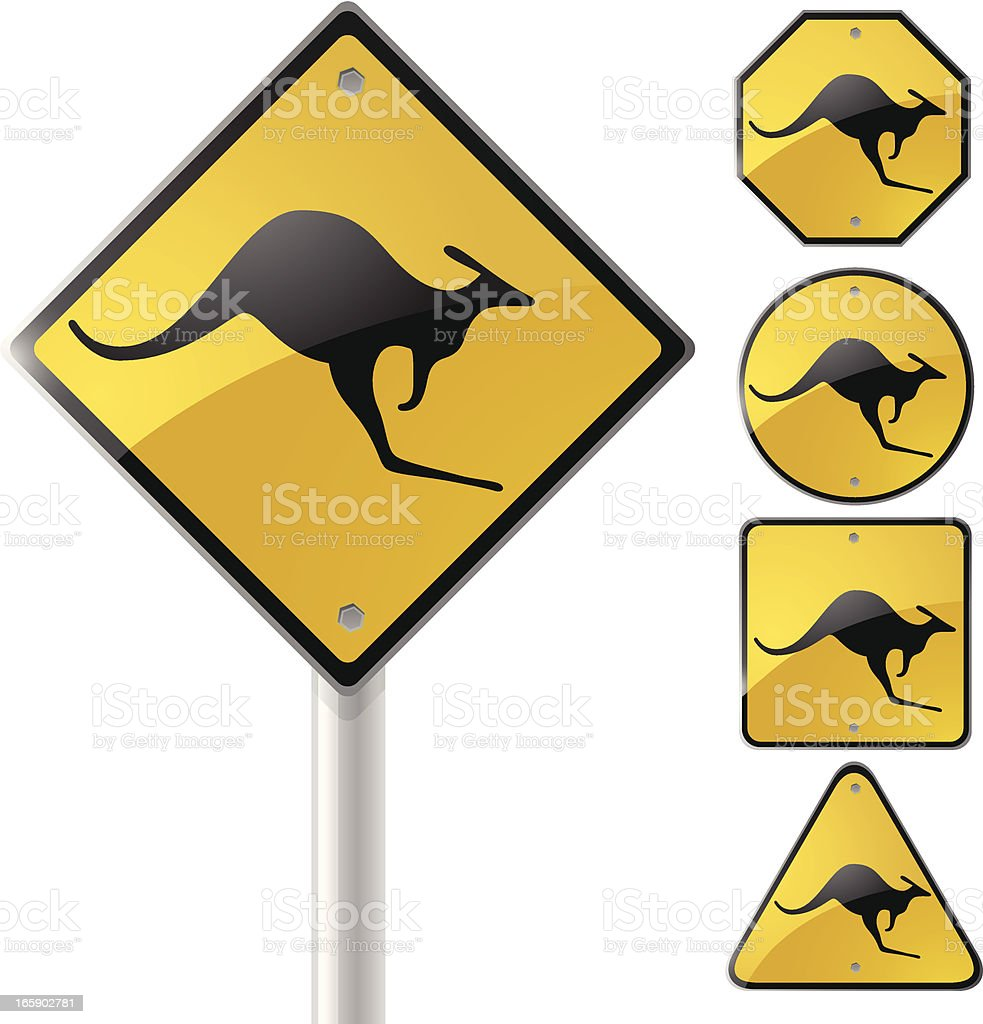 Kangaroo Signs vector art illustration