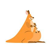 Kangaroo with baby in a bag, vector illustration