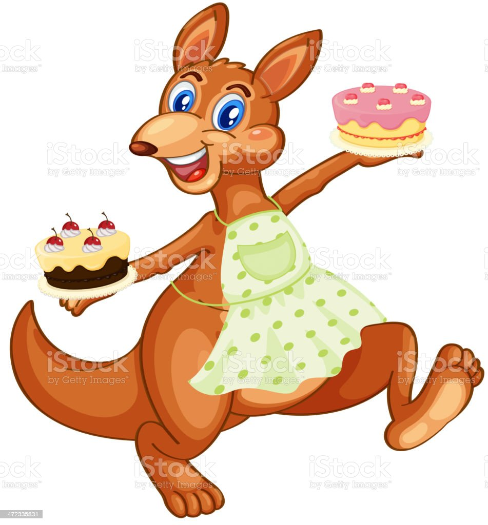 Kangaroo with cakes royalty-free kangaroo with cakes stock vector art & more images of animal