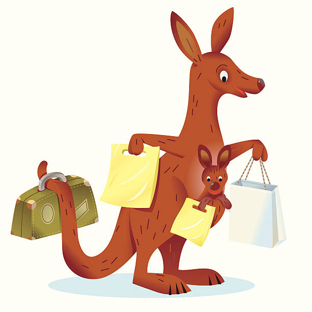 kangaroos shopping - russelltatedotcom stock illustrations