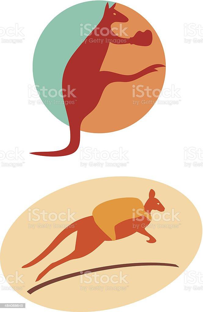 kangaroo-symbols vector art illustration