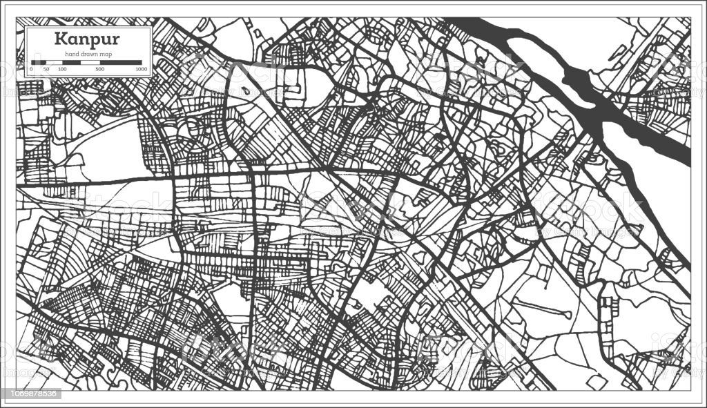 Kanpur India City Map In Retro Style Outline Map Stock Vector Art