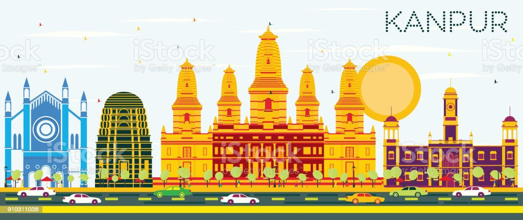 Kanpur India City Skyline with Color Buildings and Blue Sky. vector art illustration