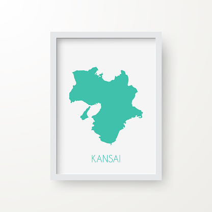 Kansai map in a frame on white background