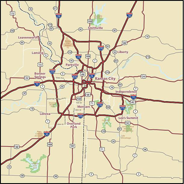 Kansas City Area Street Map vector art illustration