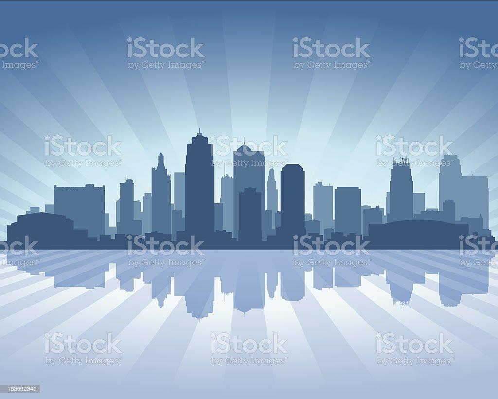 Kansas city Blue skyline silhouette vector art illustration