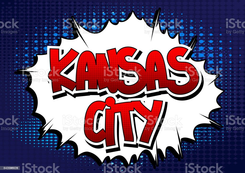 Kansas City - Comic book style word. vector art illustration