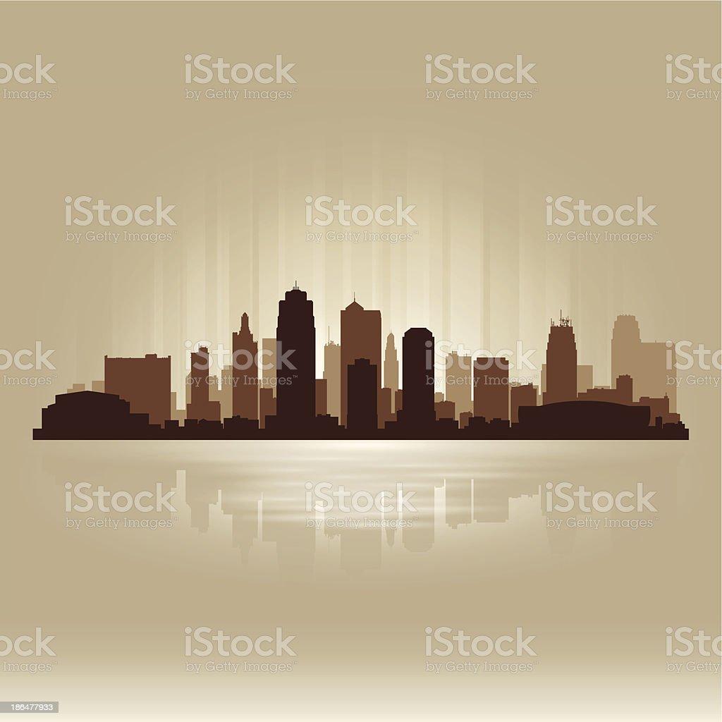Kansas city Missouri brown skyline silhouette vector art illustration