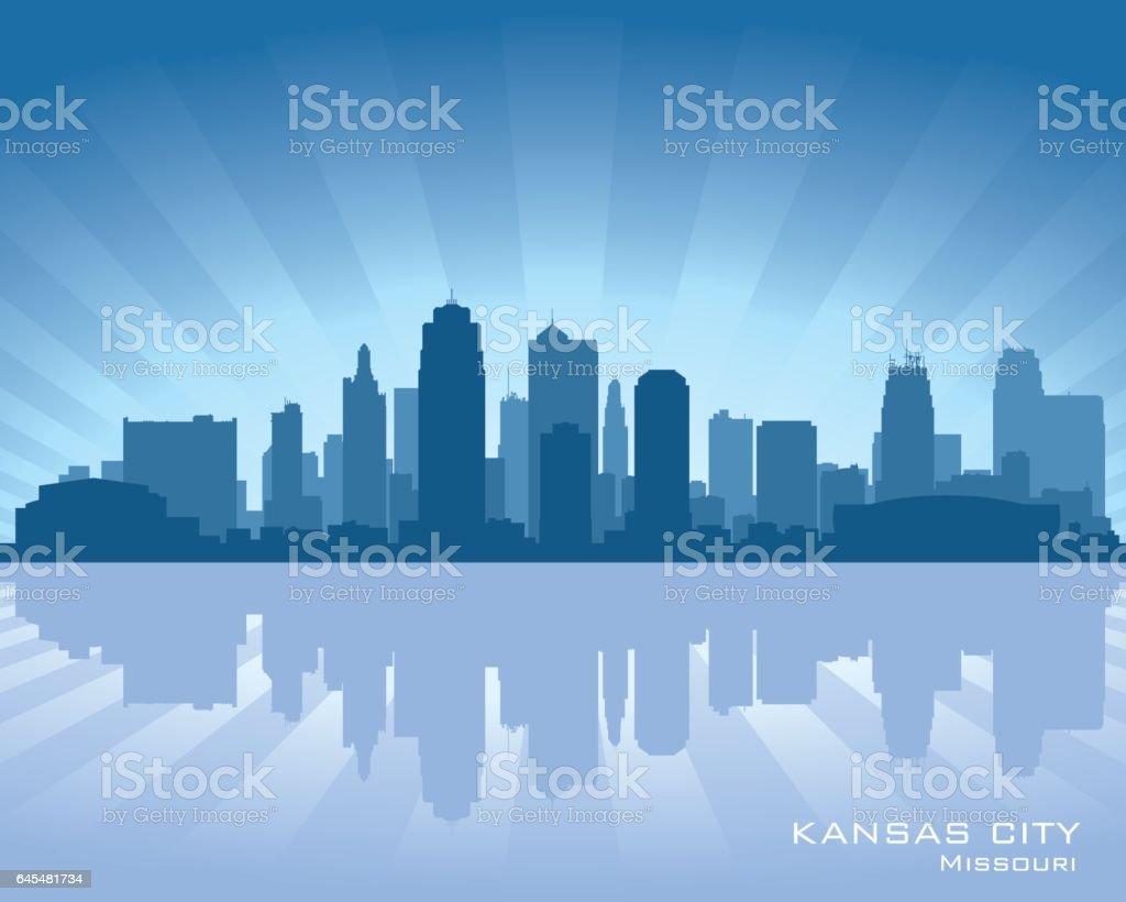 Kansas City Missouri city skyline silhouette vector art illustration