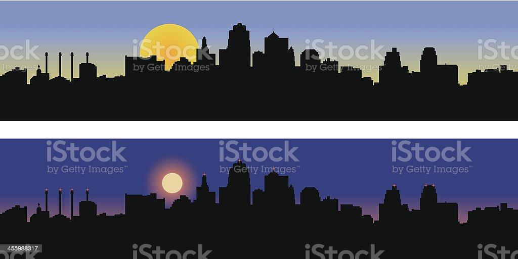 Kansas City Missouri Skyline - Day and Night vector art illustration