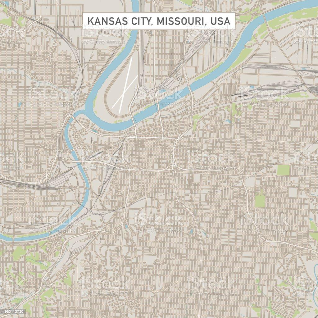 Kansas City Missouri Us City Street Map Stock Illustration ...