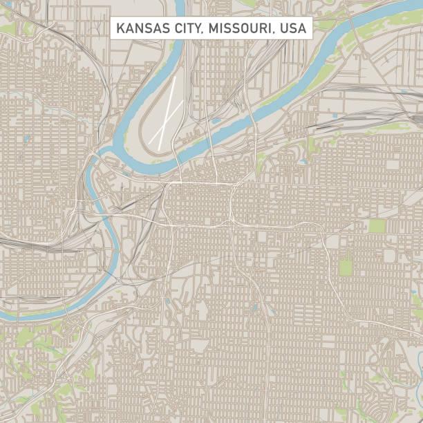 Kansas City Missouri US City Street Map vector art illustration