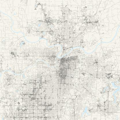 Kansas City, Missouri USA Vector Map