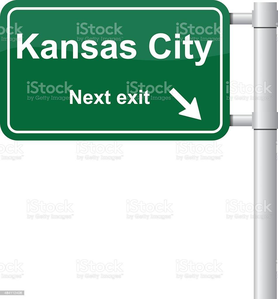 Kansas City next exit green signal vector vector art illustration