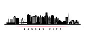 Kansas City skyline horizontal banner. Black and white silhouette of Kansas City, Missouri. Vector template for your design.