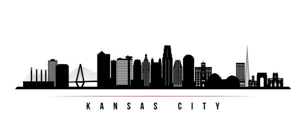 канзас-сити горизонта горизонтального баннера. черно-белый силуэт канзас-сити, штат миссури. векторный шаблон для вашего дизайна. - missouri stock illustrations
